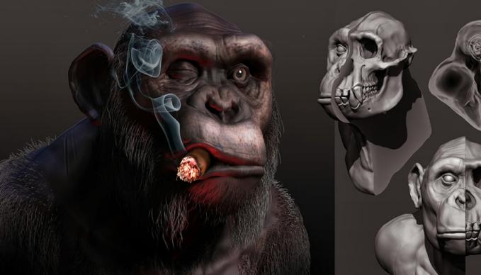 Bild mit einem modellierten 3D-Affen.