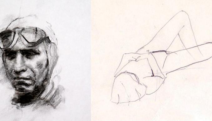 Bild mit skizzenhaftem Portrait einer Frau.